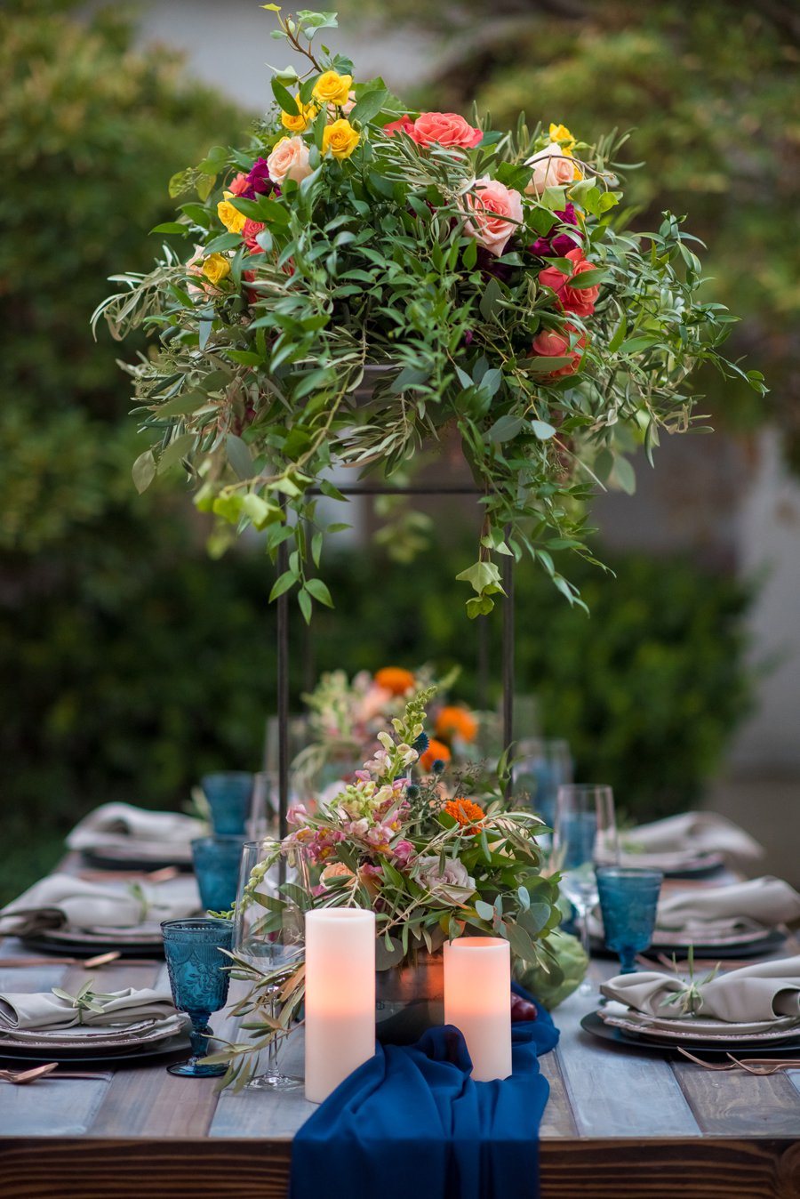 Colorful Navy, Yellow, and Orange Wedding Ideas via TheELD.com