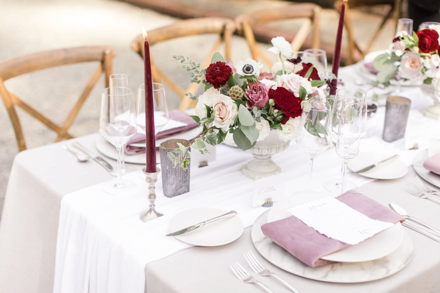 Romantic Pink & Red Elegant Garden Wedding Ideas via TheELD.com