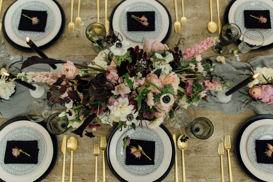 Moody, Romantic Blush & Burgundy Wedding Ideas via TheELD.com