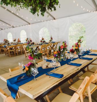 Pantone Classic Blue Rustic Wedding, Table Decor