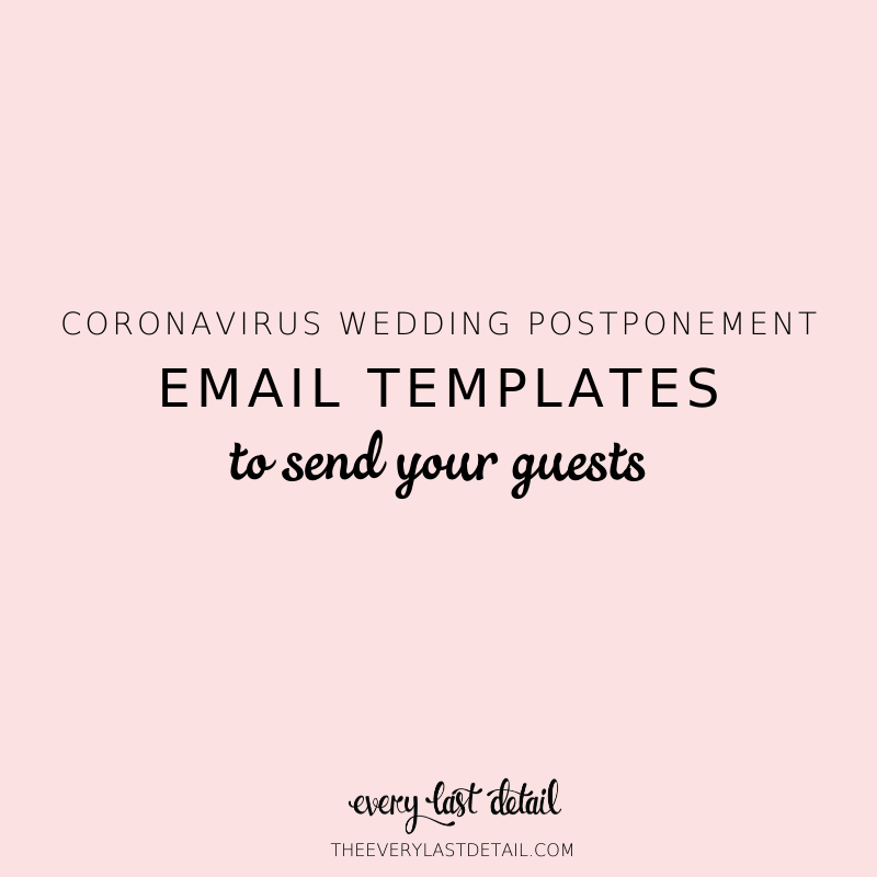 Coronavirus Wedding Postponement: Email Templates To Send To Guests via TheELD.com