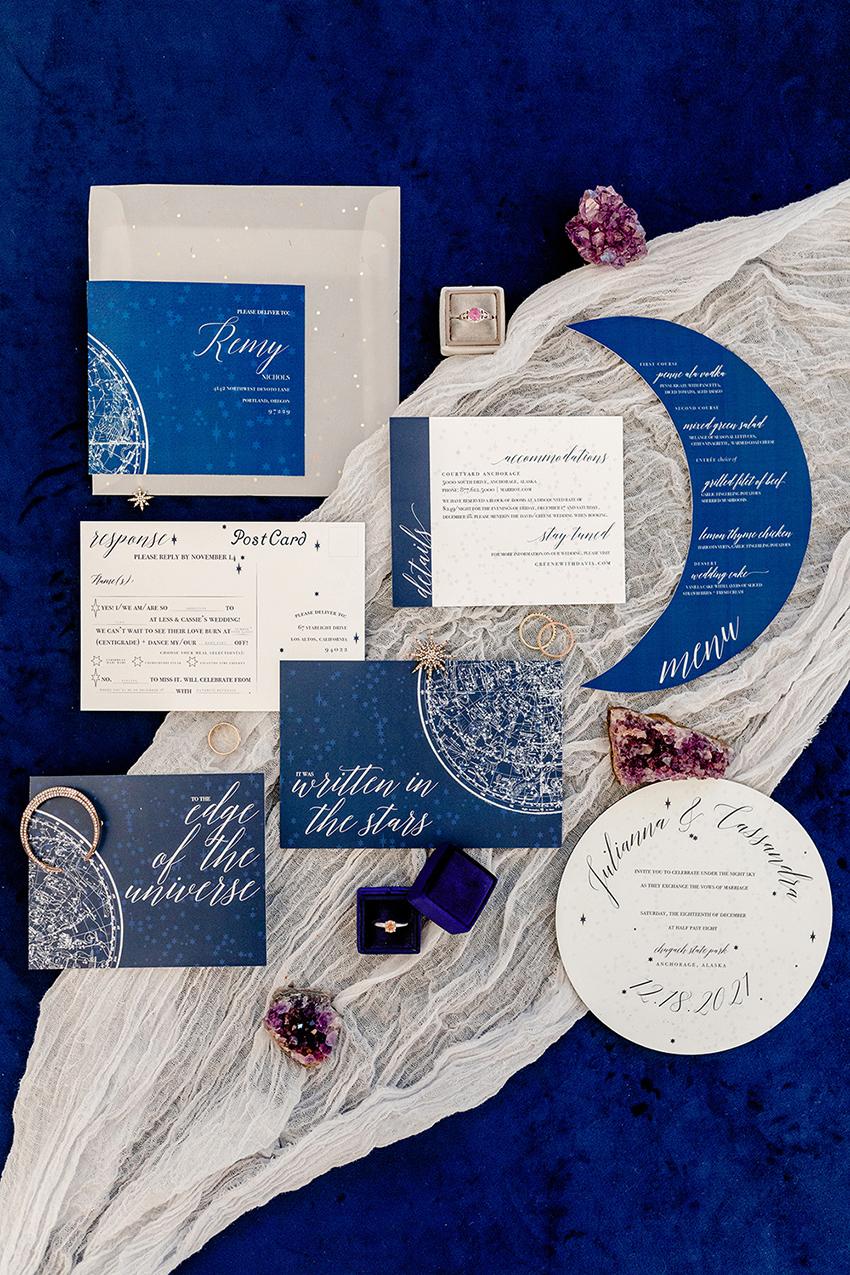 Whimsical Blue Celestial Wedding Ideas via TheELD.com