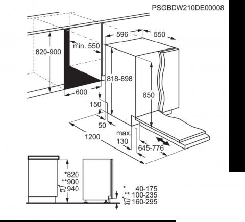 שרטוט התקנה מדיח כלים EEQ47200L1