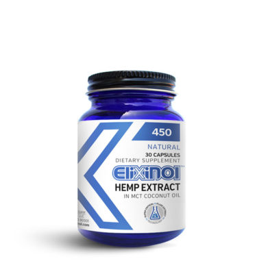 Container of Elixinol 450mg CBD hemp oil capsules