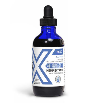 Dropper bottle of Elixinol hemp extract CBD oil tincture 3600mg natural flavor