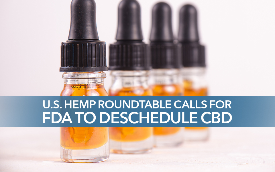 "CBD oil in dropper bottles captioned ""U.S. Hemp RoundTable calls for FDA to reschedule CBD"""