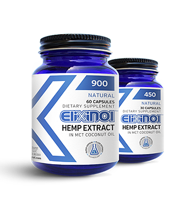 Elixinol cbd oil capsules in jars