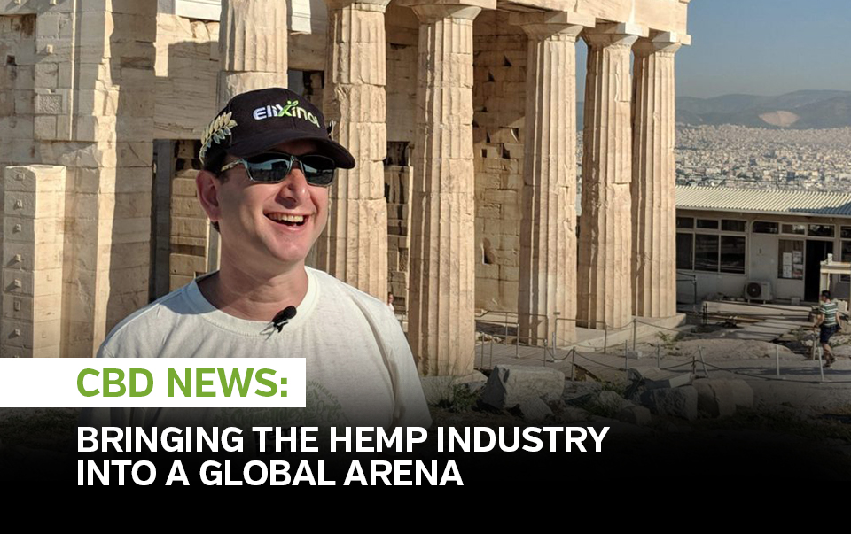 "Elixinol CEO Paul Benhaim smiling and standing in front of Roman ruins captioned ""Bringing the hemp industry into a global arena"""
