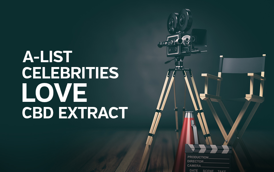 "Movie directors chair, cine camera and megaphone captioned ""A-List celebrities love CBD extract"""