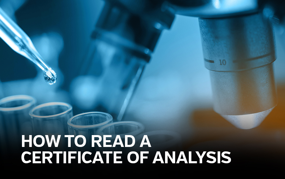 "CBD oil drops dripping from pipette into test tubes captioned ""how to read a Certificate of Analysis"""