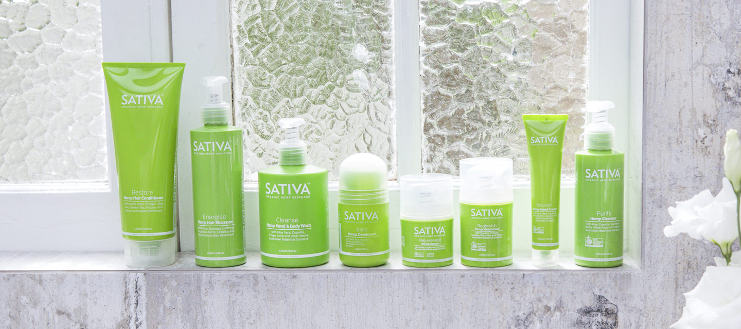 A selection of hemp skincare products
