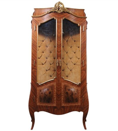 Egner Elegant French Style Display Cabinet with Tufted Upholstery