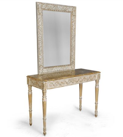 Edmondson French Console Table Distressed Paint and Hand Carved Beach Wood with Mirror