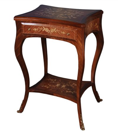 Ava French Side Table with Shelf and One Drawer
