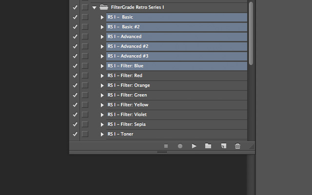 Selection multiple Photoshop actions.