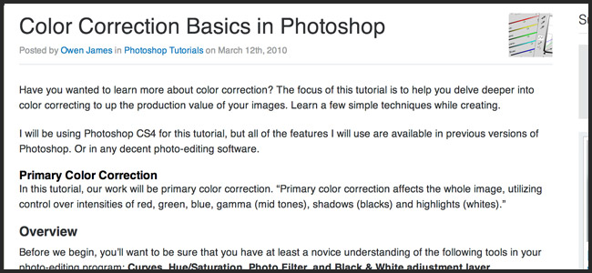 Color Correction Tutorial in Photoshop