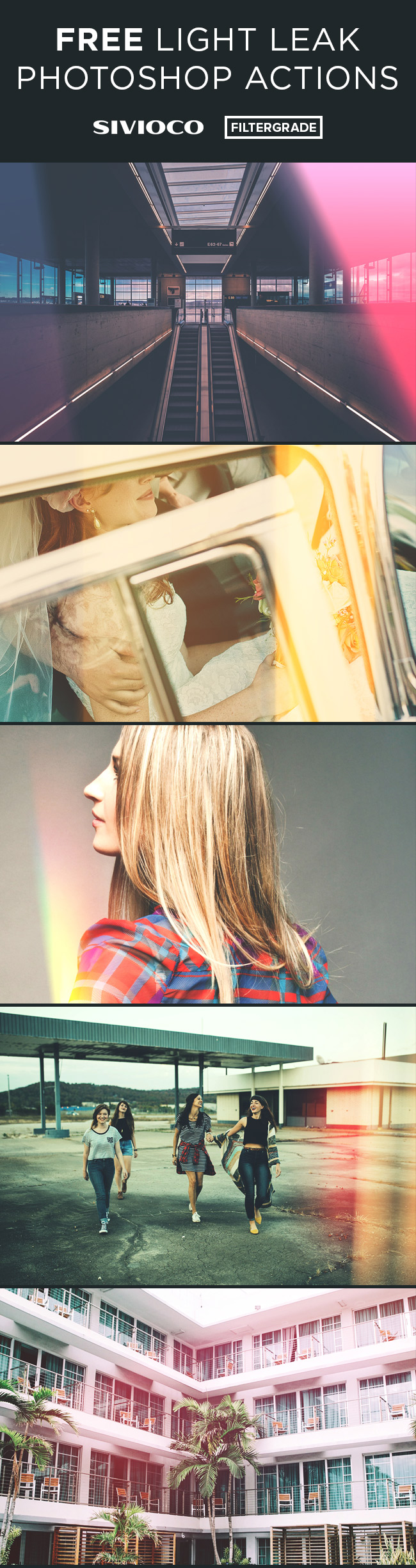 Free Light Leak Photoshop Actions from Sivioco and FilterGrade.