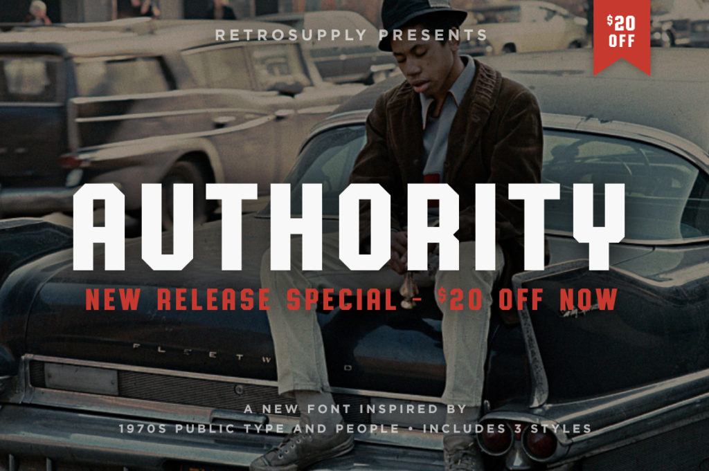 Authority Font and Typeface by Dustin Lee of RetroSupply Co.