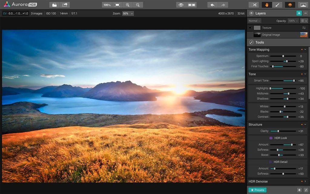 HDR photo editing software.
