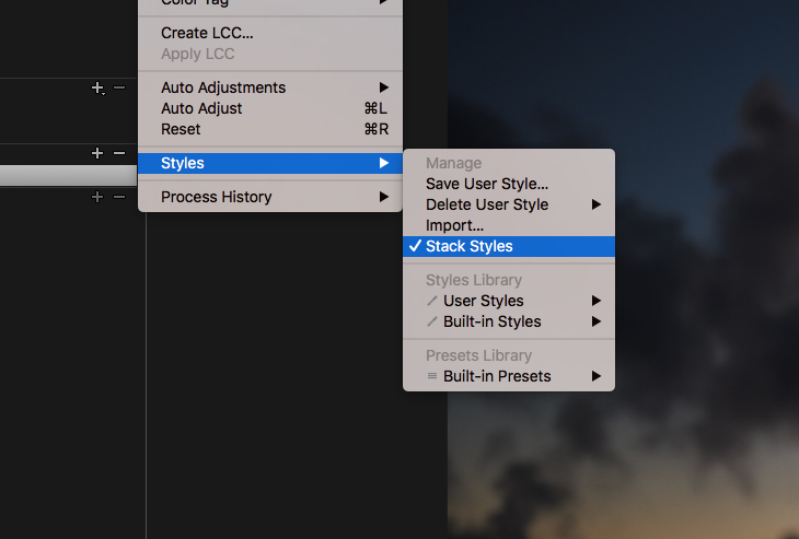 how to stack styles in capture one