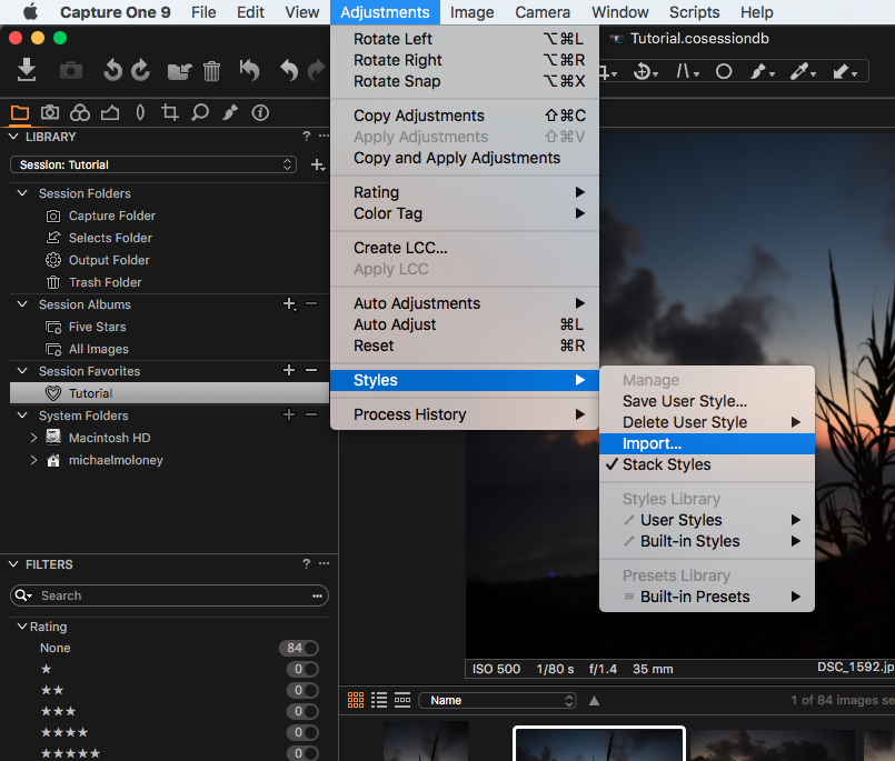 installing styles in Capture One