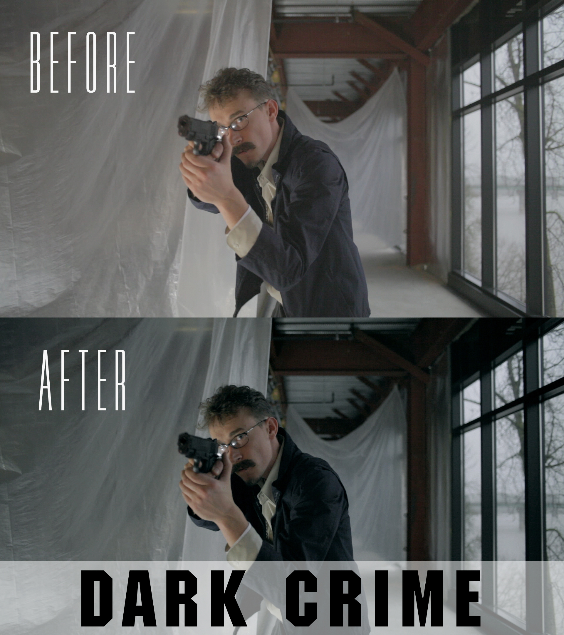 dark crime film color grading effect