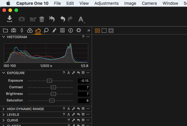 Exposure adjustments in Capture One Pro 10.