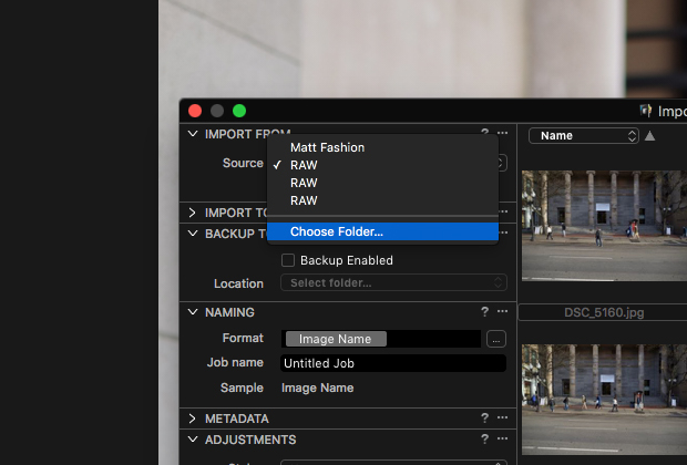how to import raw photos in Capture One Pro