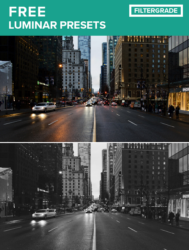 Free Luminar Presets Pack from FilterGrade. Download 4 free filters for your photography projects.