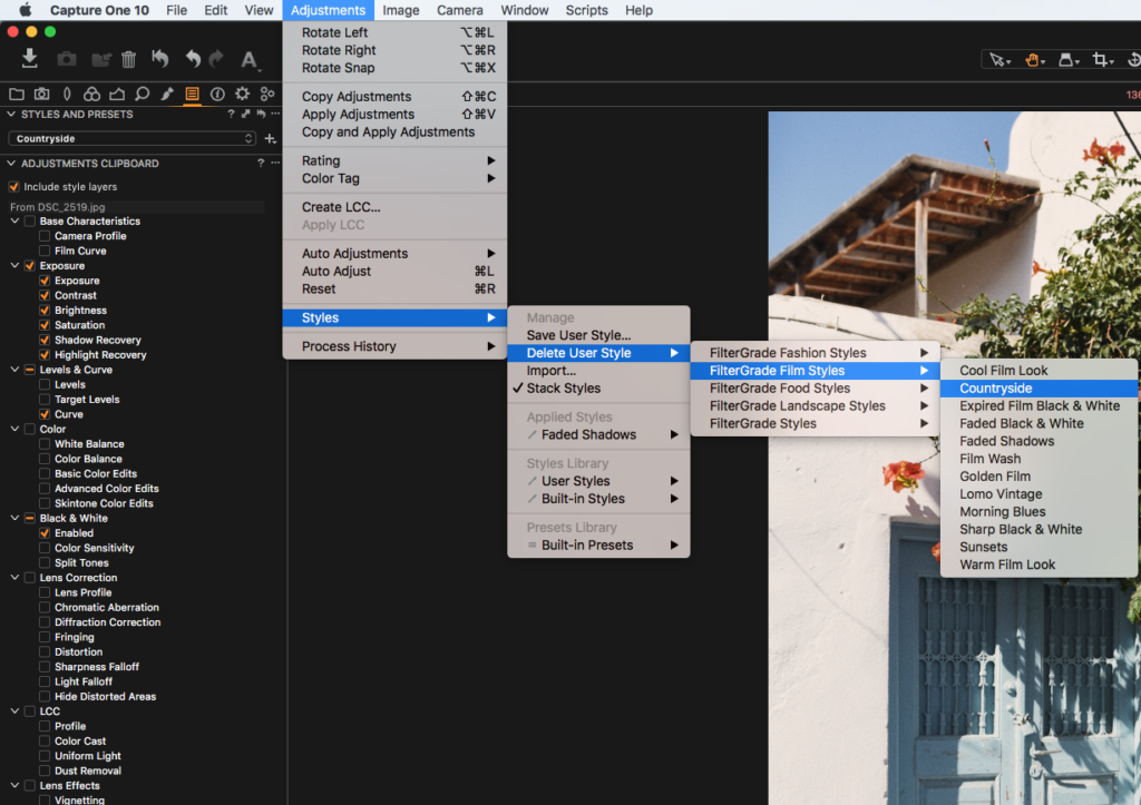 how to remove and/or delete capture one styles