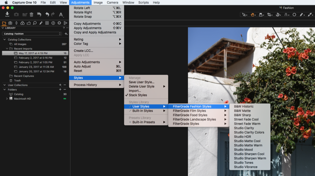 editing adjustments in capture one pro