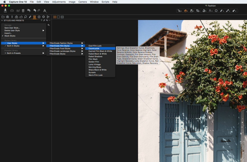 how to apply capture one styles in capture one pro 10