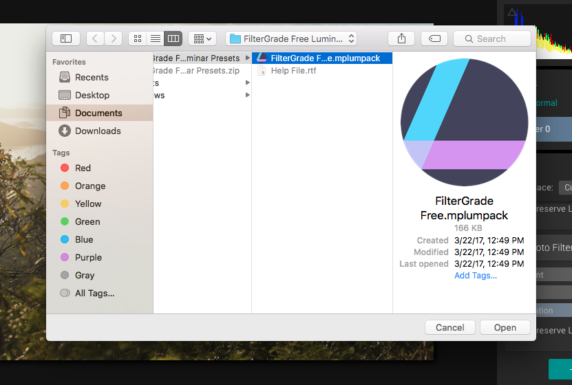 install luminar presets for mac