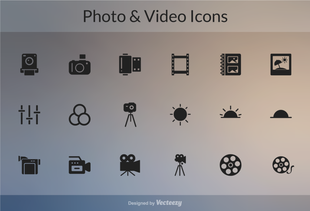photo and video icons freebie glyphs