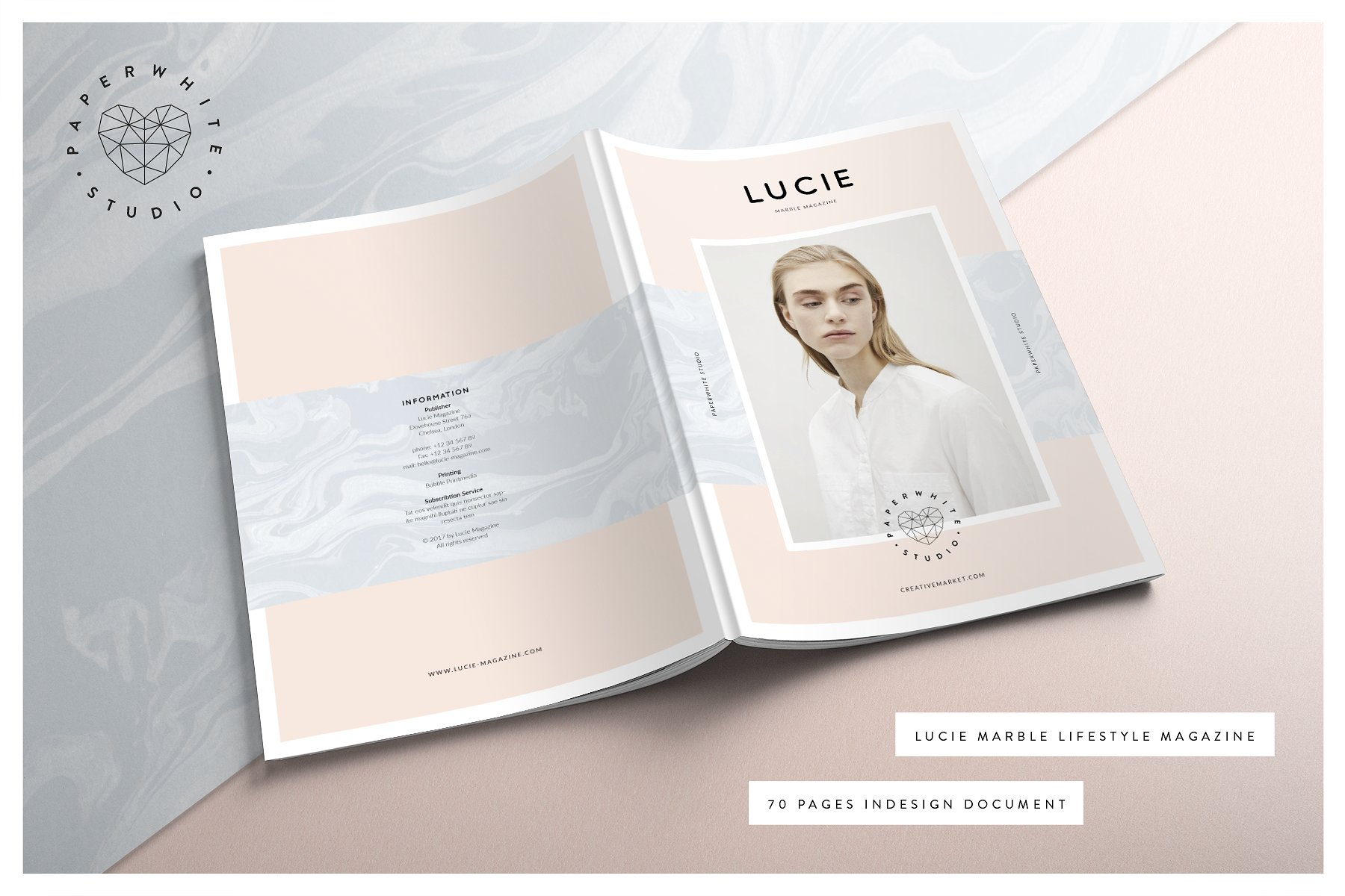 lucie magazine and marble texture