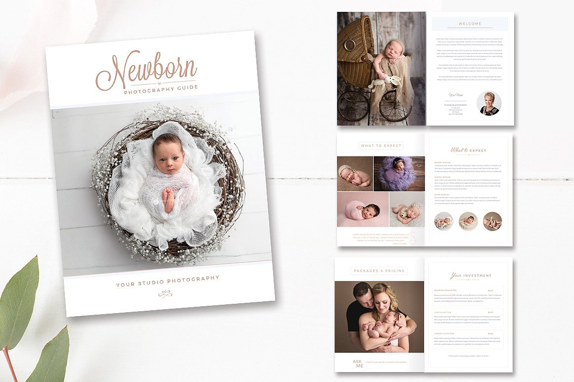 newborn photography indesign template