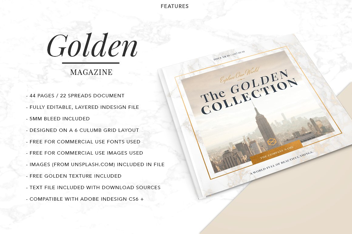 golden fashion magazine template