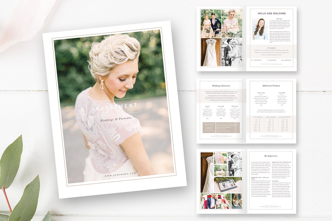 Wedding Photographer Magazine Template Design