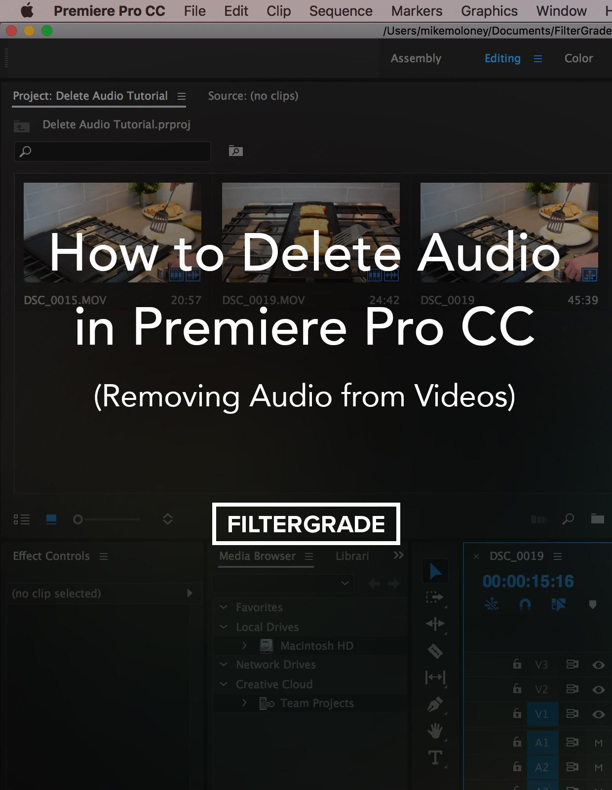 delete audio in premiere pro cc: removing audio from videos