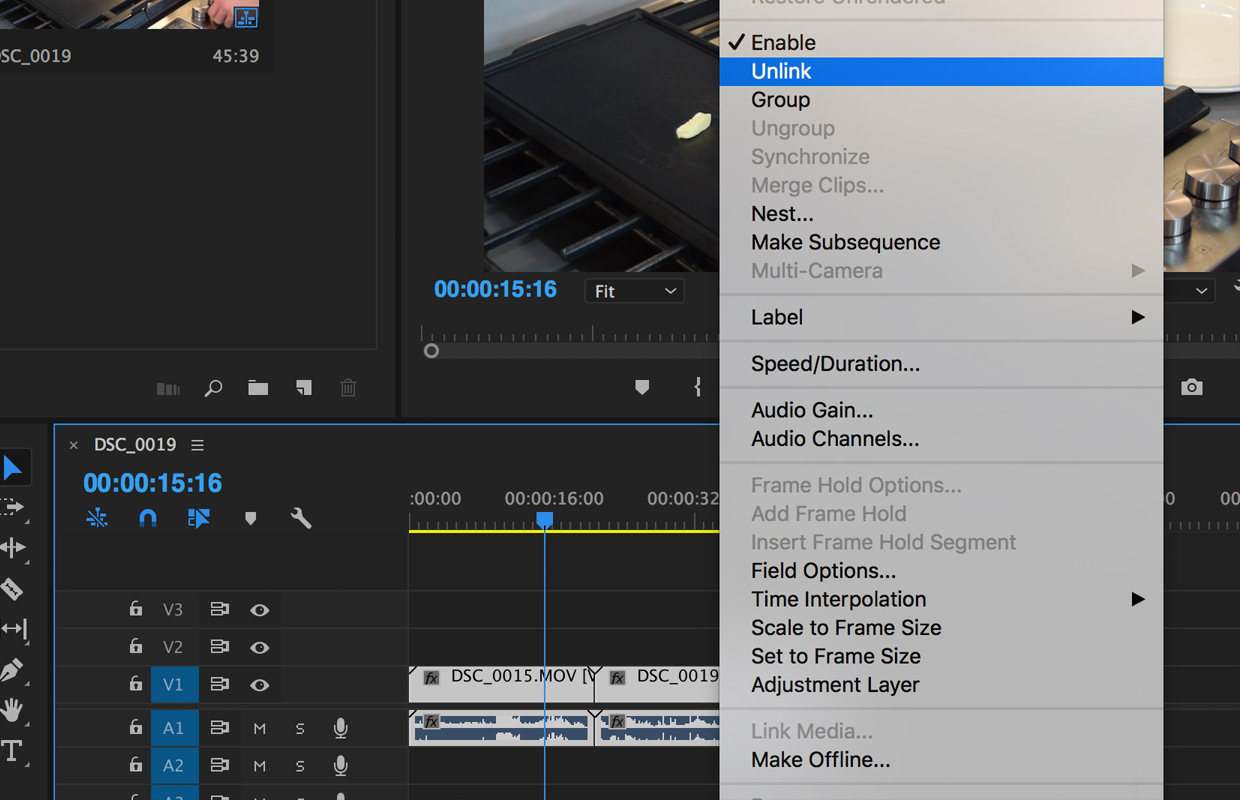 how to unlink audio and video in premiere pro cc