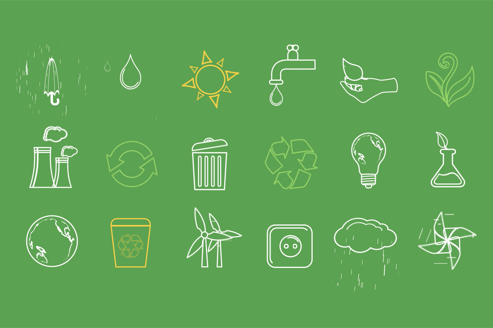 animated green and eco friendly icons ae template