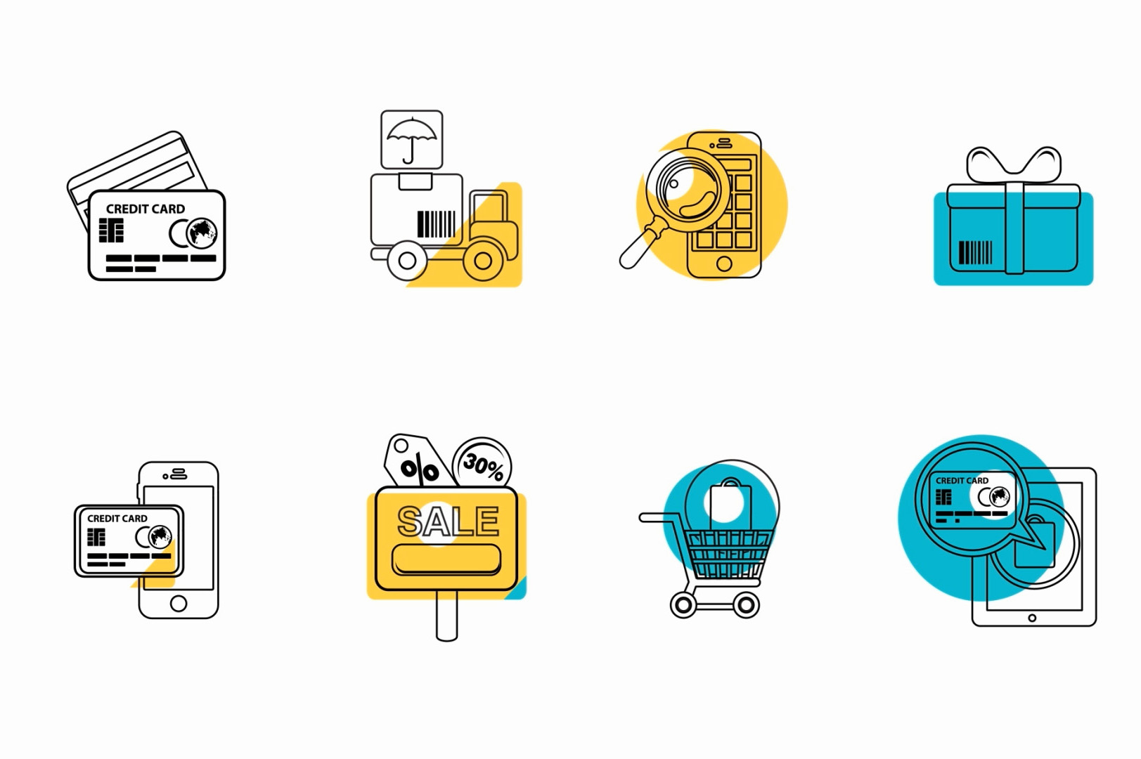 business minimal line icons animated