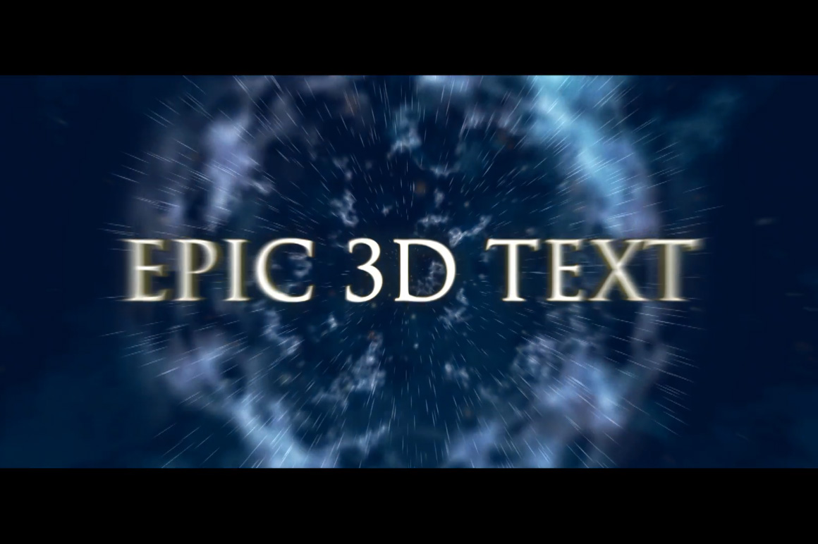 epic 3d text for after effects template