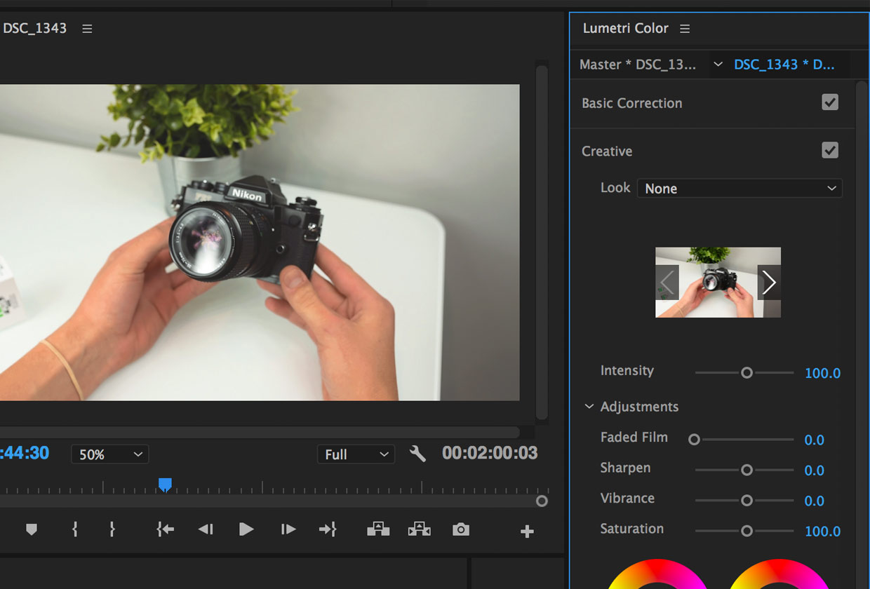 Creative Tab in Premiere Pro Color Panel