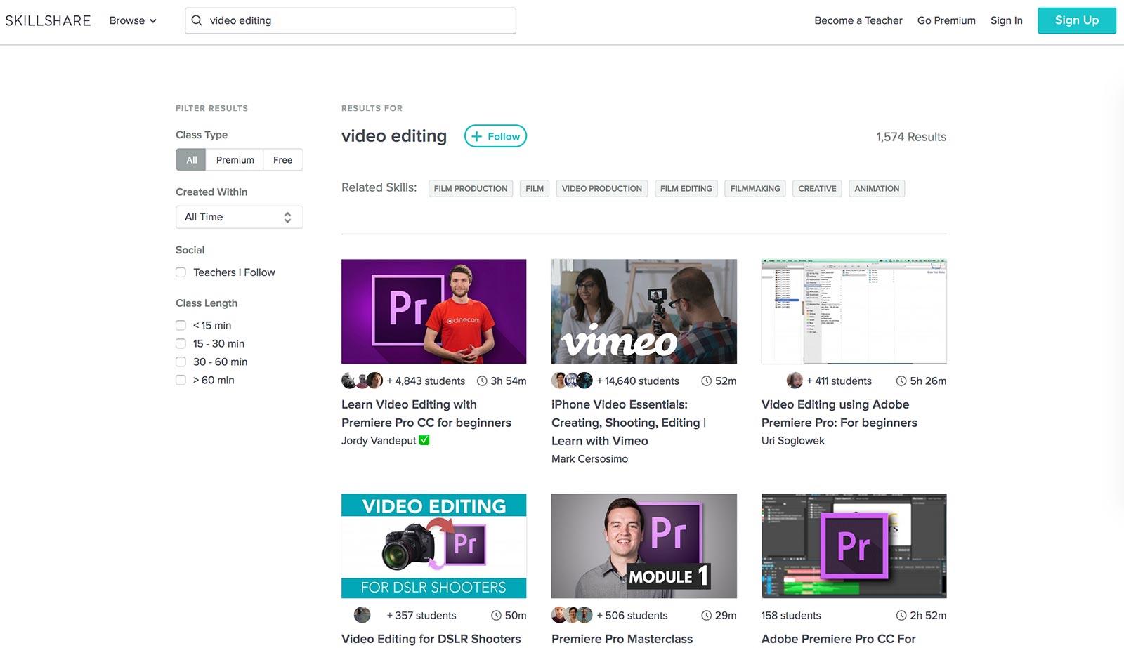 skillshare video editing classes