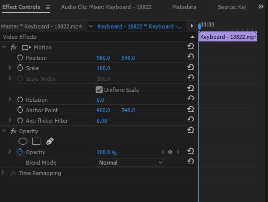 premiere pro effect controls panel
