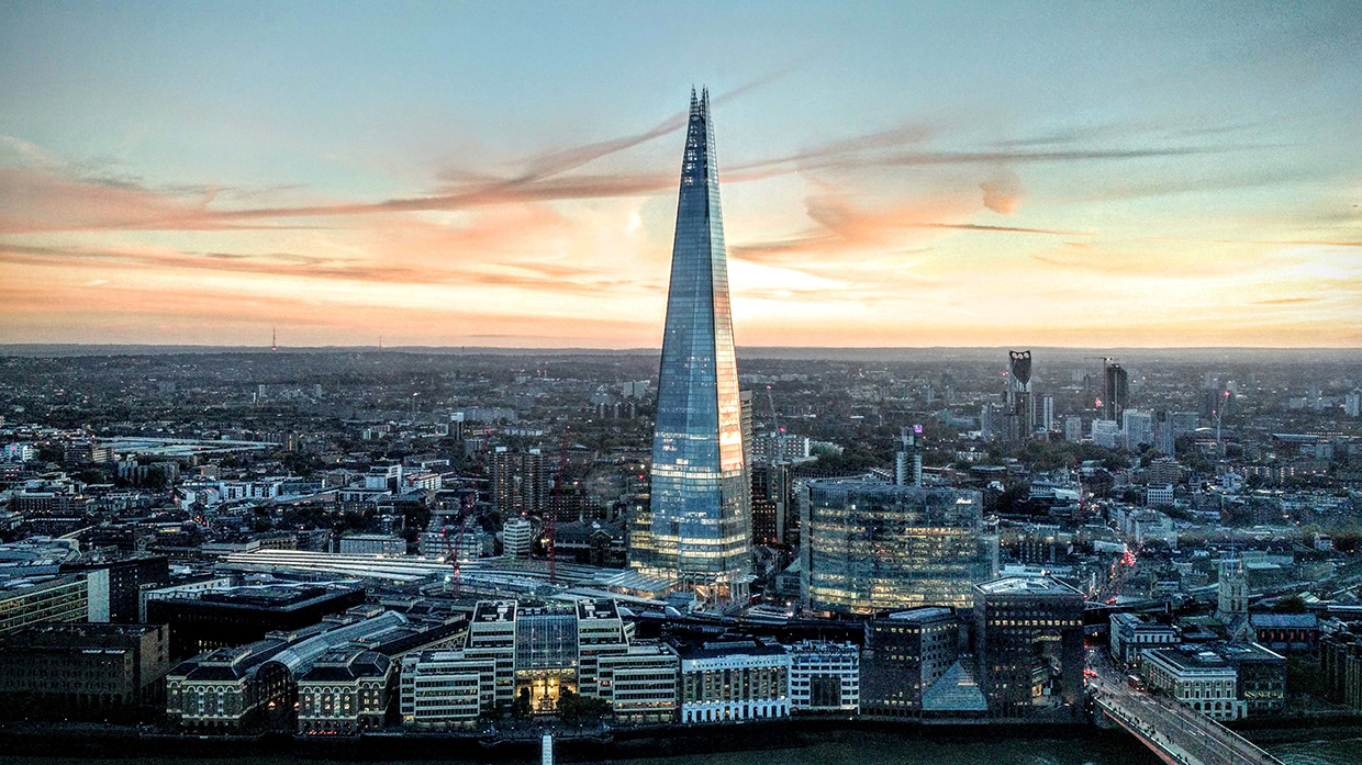 the shard at sunset