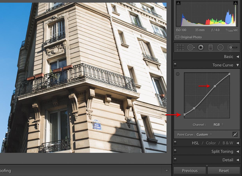 lightroom matte effect curves adjustment