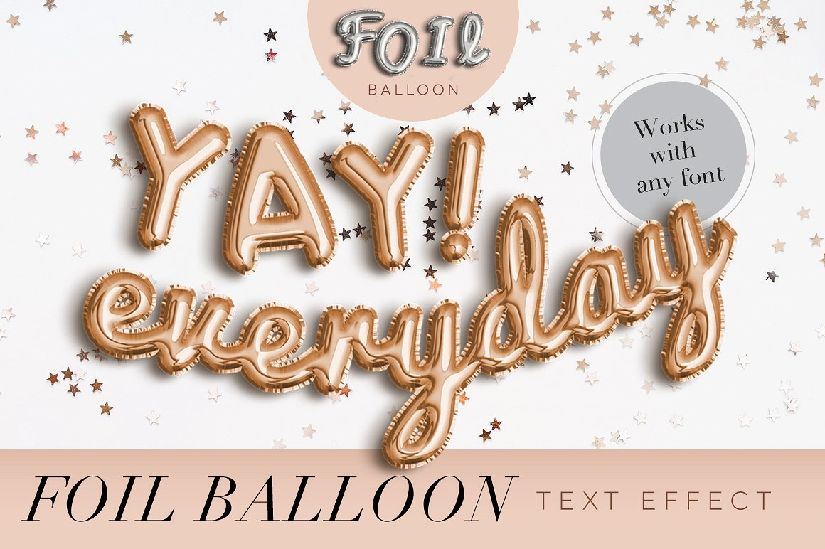 foil balloon text effects photoshop