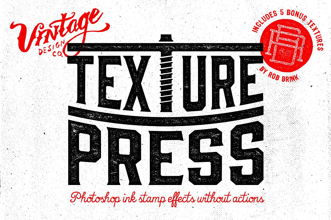 Texture Press vintage text stamp effects for Photoshop. Created by designer Ian Barnard.